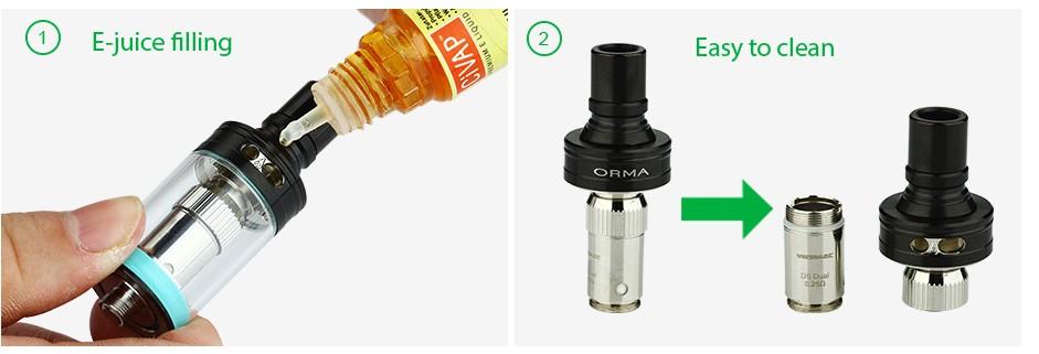 ถูก เดิมWismec ORMAถัง3.5มิลลิลิตรความจุบุหรี่อิเล็กทรอนิกส์Atomzierด้านบรรจุด้านบนไหลเวียนของอากาศที่มีDS NC DSขดลวดคู่0.25ohm