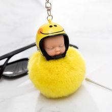 Fantasia & Fantasy New Fluffy Rabbit Fur Pompom capacete Da Motocicleta Bebê Dormindo Boneca Chaveiro Chaveiro Carro Chaveiro Mulheres De Pele brinquedo(China)