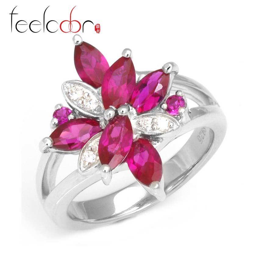 Flower High Quality Pigeon Blood Red Ruby Ring Stylish Set 925 Solid Sterling Silver 2015 Brand New<br><br>Aliexpress