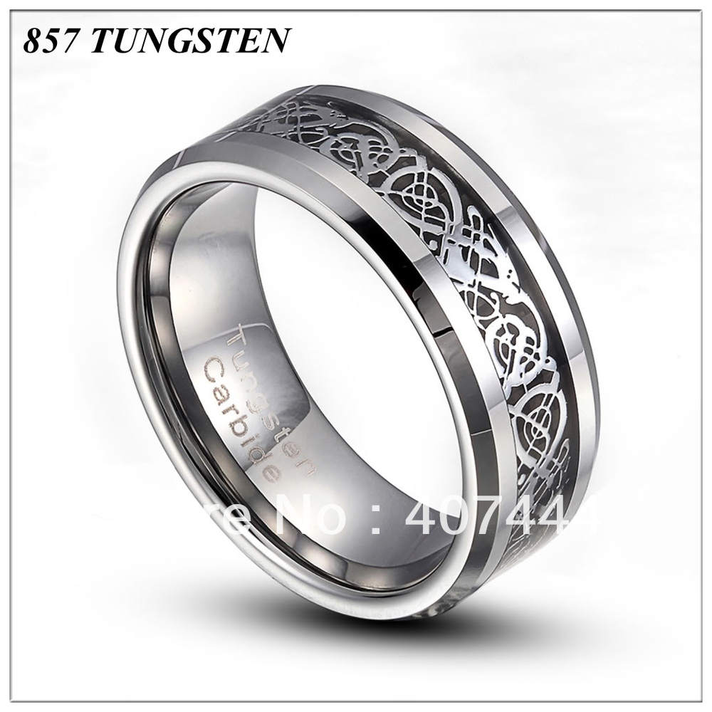 8mm silver dragon inlaid wedding band ring size 8 12 wedding band ring