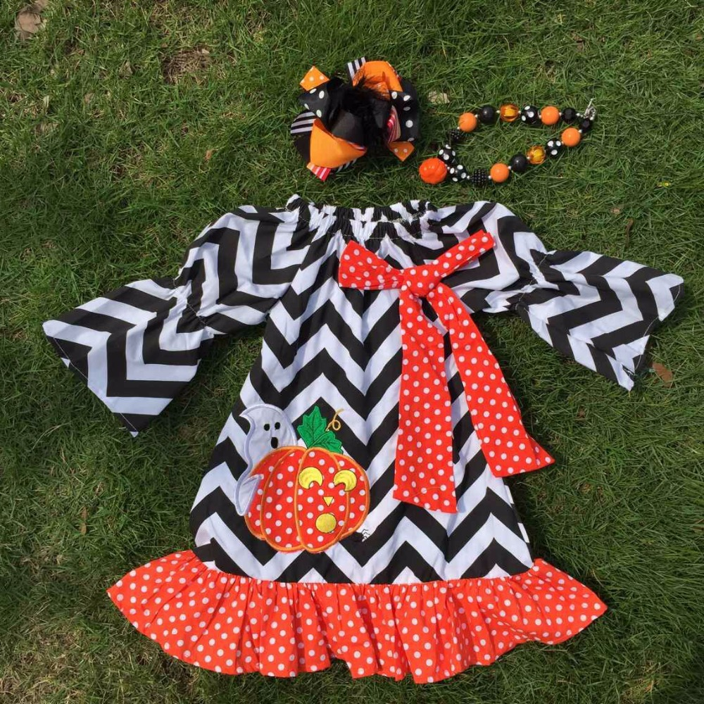 Halloween dress black chevron halloween pumpkindesign latest style  girls dress 2-7T kids clothes with necklace and headband(China (Mainland))