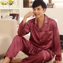 L-XXXL Men's Quality Silk Sleepwear Set Spring Autumn Male Long Sleeve Nightgown Set Plus Size Lounge Pajama Set(China (Mainland))