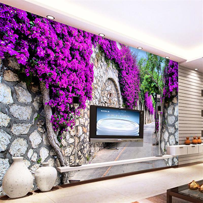 Wallpaper For Walls 3 D 3d Purple Flower Wall TV Backdrop