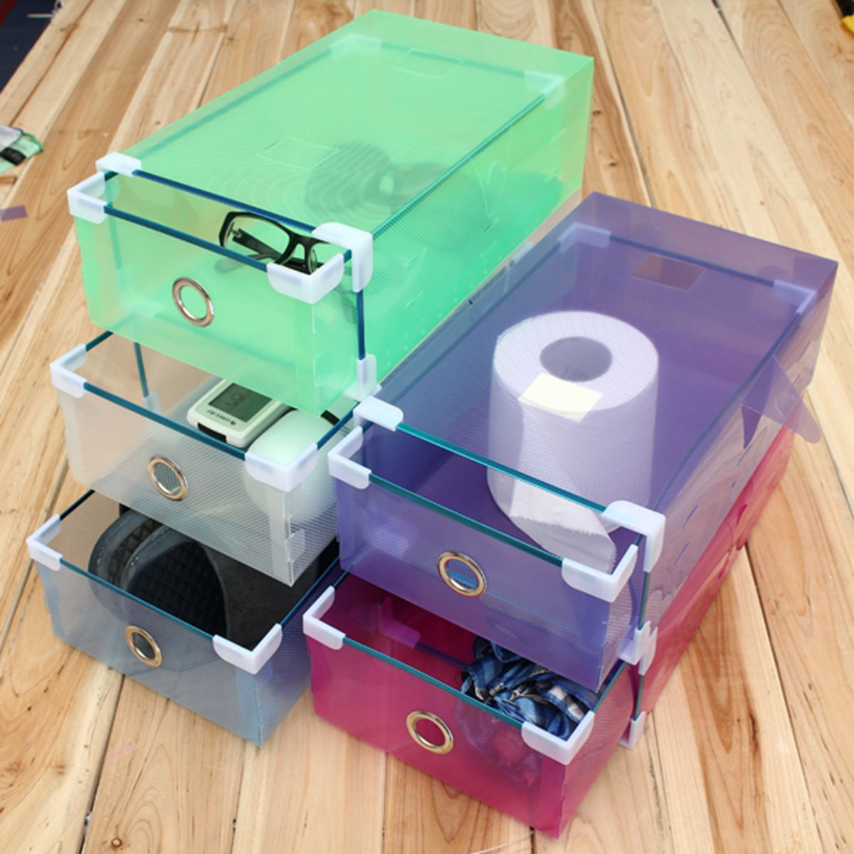 New Arrival 1Pcs House Organizer Transparent Clear Plastic Shoe Boot Box Stackable Foldable Storage Drawer Box 30 X 9cm(China (Mainland))