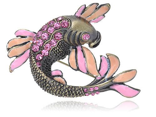 Фуксия Розовый Кристалл Rhinestone Эмаль Карп Кои Рыба Мода Контактный Брошь морепродукты рыба