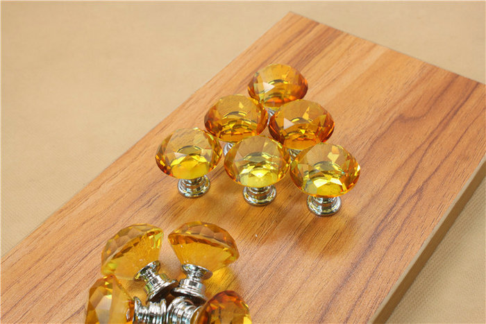 10PCS 30mm Diamond Clear Crystal Glass Door Pull Drawer Cabinet Furniture Handle Knob with Screws Hot Sale