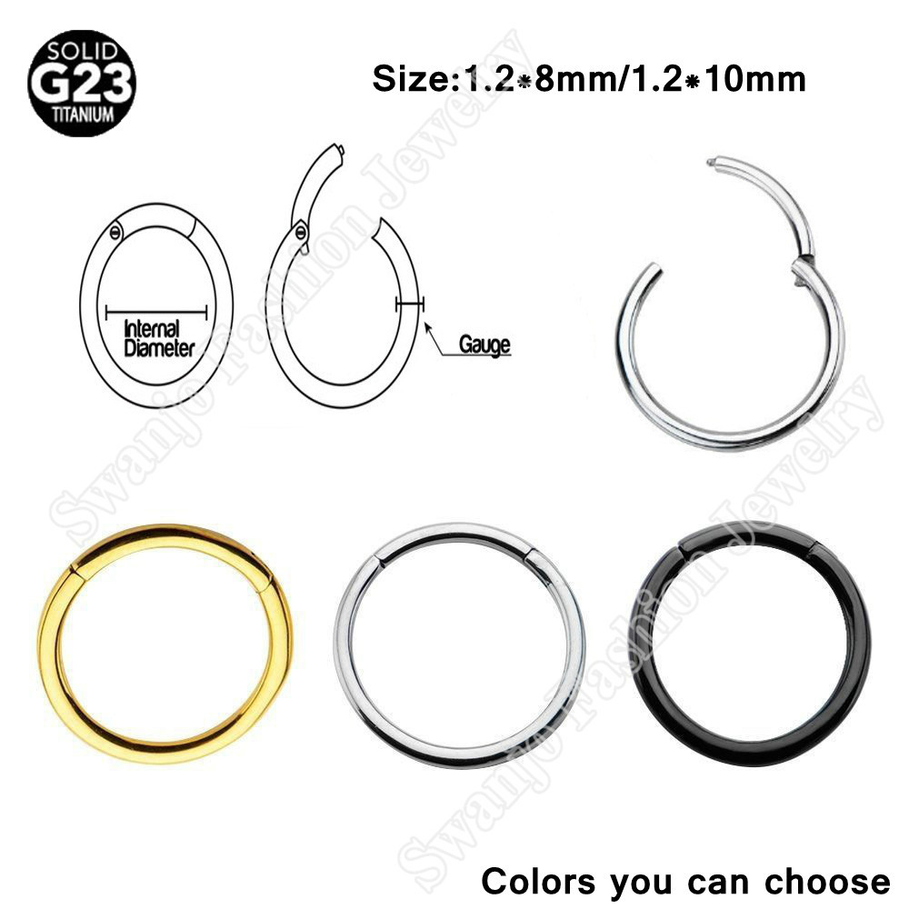 1 PC 16G Hinged Segment Ring Septum Clicker Fake Nose Piercing Labret G23 Titanium Nose Clip On Body Piercing Pircing Jewelry(China (Mainland))