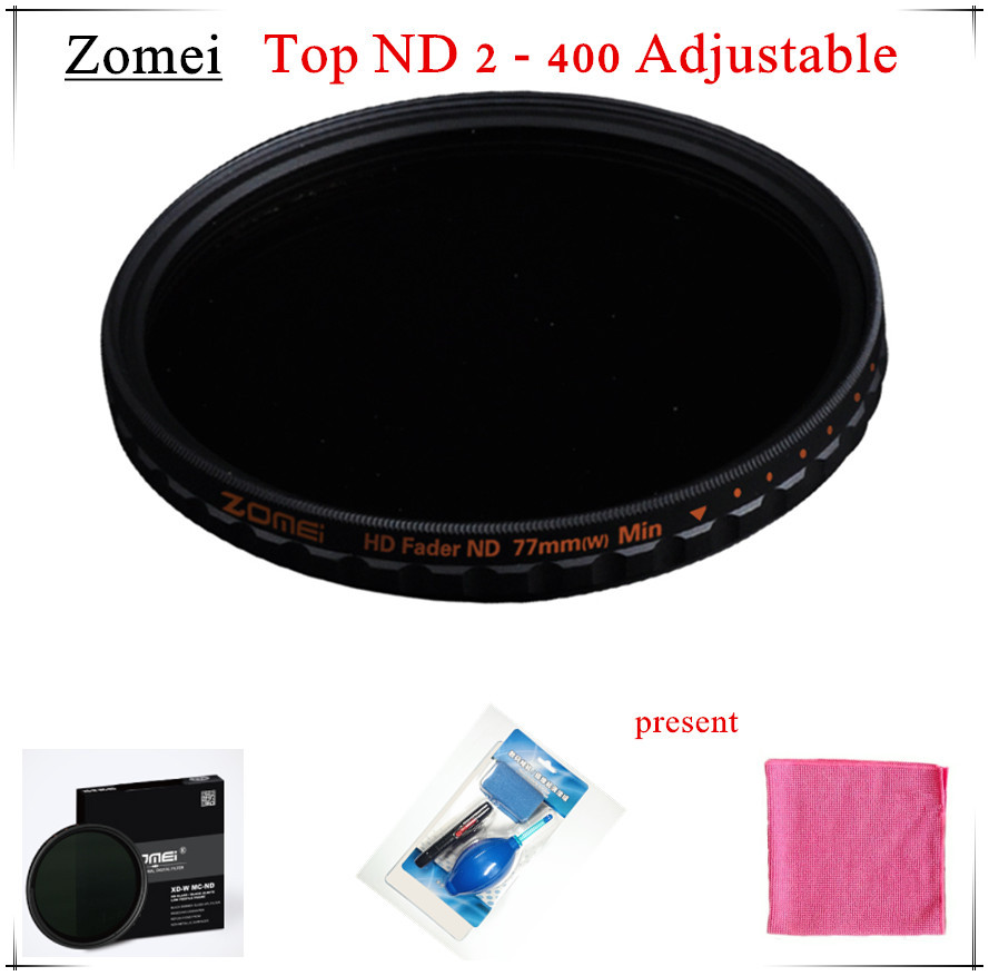 Top UHD Zomei 82mm Adjustable ND Filter ND2 - 400 Germany Schott 18 Layer Coating Oil Soil + Clean Pen for Canon Sony Camera(China (Mainland))