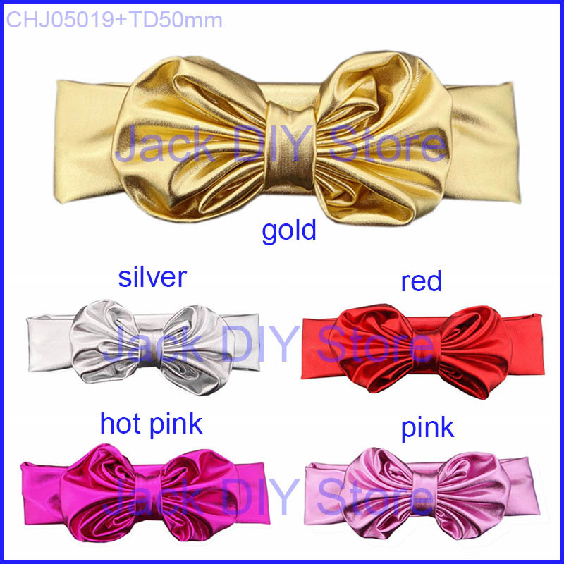 Free Epacket/CPAP 10pcs/lot Metallic Knotted Tie bow Headband for baby and children kids hair accessories(China (Mainland))
