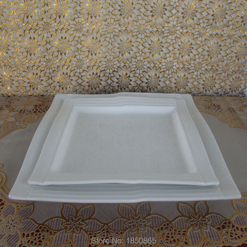5 star hotel bone china square plate 8 &10 inch white square plates Western dishes restaurant serving plate wholesale hot sale(China (Mainland))