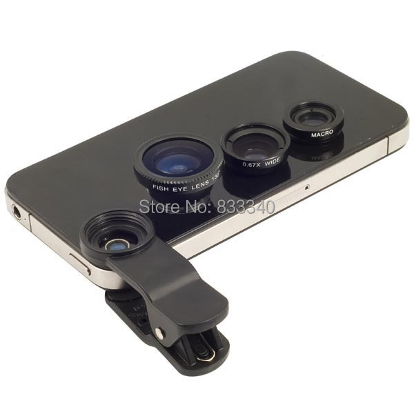 5 Colors 3 In 1 Universal Clip Mobile Phone Lens Fish Eye+Macro+Wide Angle General use for iphone Samsung I9300 n7100 LG HTC(China (Mainland))