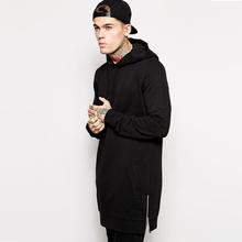 Free shipping men's hip hop fleece sweatshirts with hoody side zip to hem design long sweat shirt men longline hoodies for men(China (Mainland))