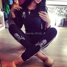 2014 women clothing set skull blingbling sport suit women 2 piece set women fashion sweatshirt+pants tracksuits sports costumes(China (Mainland))