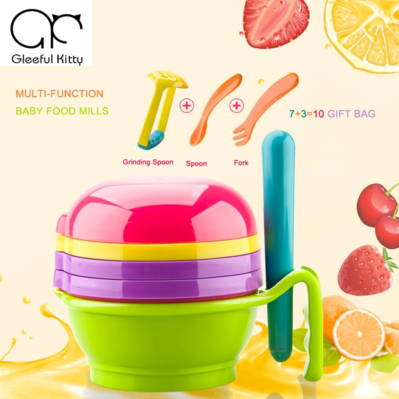 2017 10PCS/set Feeding Baby Food Mills manual Baby Food Grinder for fruit and vegetables infantil de cocina Food Press Machine