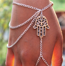 Lucky Gift Protection Retro Silver Hamsa Fatima Bracelet Finger Bangle Slave Chain Hand Harness