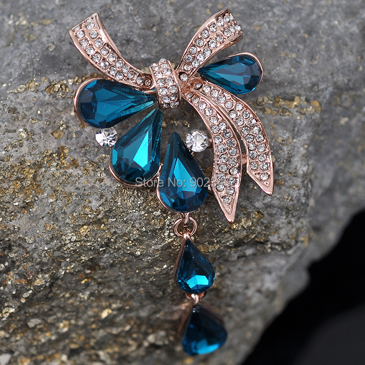 2015 New Jewelry Wholesale Fashion Blue Purple Drop Crystal Jewelry Brooch for Wedding Rhinestone Women Brooch Pins(China (Mainland))