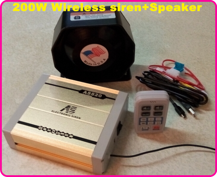 America design AS820 High quality 200W Police siren ambulance fire wireless siren alarm warning siren +1pcs 200W loudspeaker(China (Mainland))