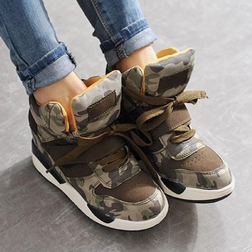 Высокое качество 2015 женщин клин кроссовки женские увеличение высоты 6 см камуфляж клинья туфли на каблуках оптовая продажа бесплатная доставка