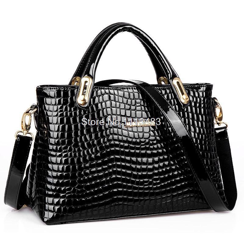 Free Shipping Stylish Crocodile patent leather women handbag bags shoulder bag ladies popular Messenger bag bolsas H1770(China (Mainland))