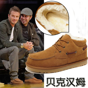 Casual male cotton-padded shoes winter warm genuine leather trend fashion martin boots snow - Anna Adams's store