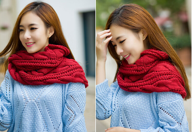 Autumn Real And Winter Scarves Twisted Crochet Warm Winter Knit Crochet Ring Scarf Shawl Cowl Neck Circle Cable(China (Mainland))