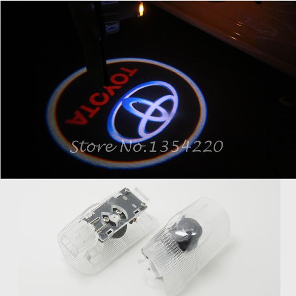 LED Car door Courtesy laser projector LED Logo Ghost Shadow light For TOYOTA Avensis Prado Reiz Camry HighLander Corolla(China (Mainland))