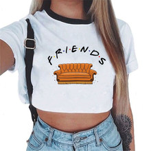 CDJLFH Friends Tv Letter Crop Top Cute Women T Shirt Harajuku Black Kawaii Femme Fashion Tshirt Tumblr Summer New T-shirt(China)