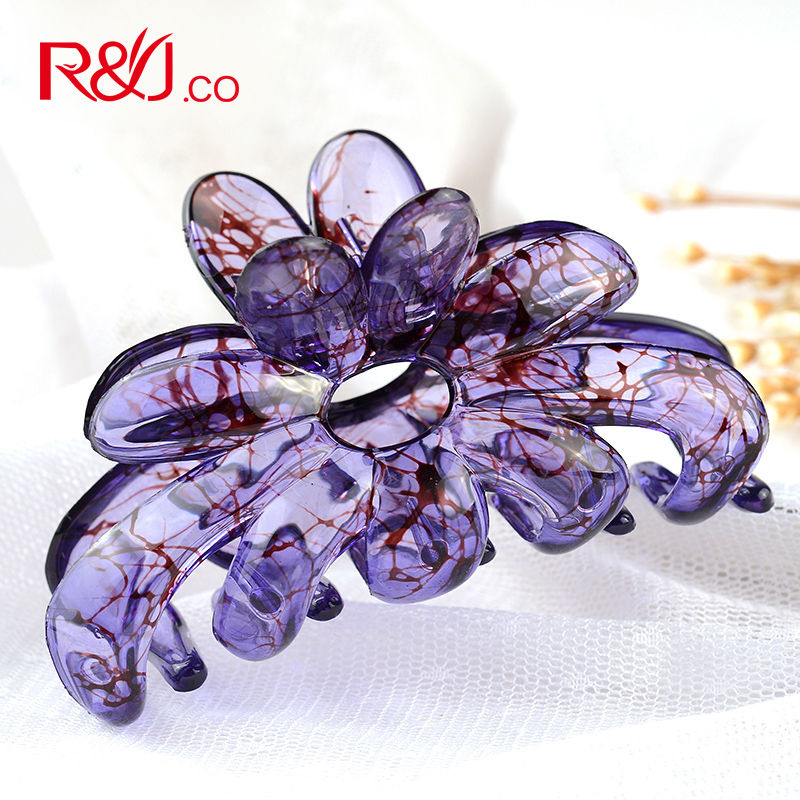 Acrylic Hair Barrette Crab Clamp Acetate Flower Large Hair Claw Big Crab Floral Hair Jaw Clips for Women 2016 Hair Accessories(China (Mainland))