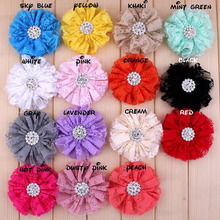 20pcs/Lot 7CM 15Colors Shabby Lace Frayed DIY Craft Solids Flowers Headband with Rhinestone No Clip(China (Mainland))