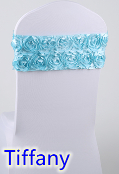 Tiffany Blue Free shipping 100PCS Satin embroider Rosette Chair Cap\Chair Sash \ Chair hood Used For Spandex Wedding Chair Cover(China (Mainland))