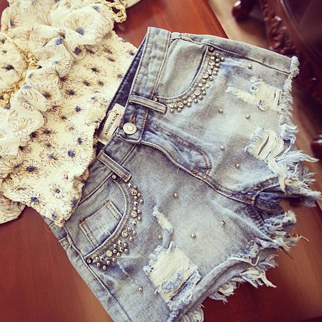 Лето бисера джинсовые шорты женский свободного покроя Большой размер S ~ 2XL старинные ...