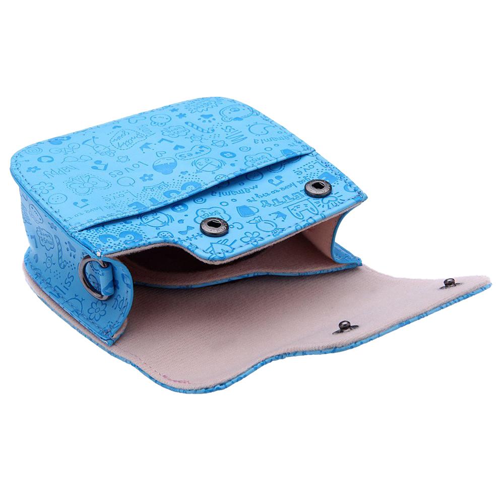 Artificial Leather Cartoon Camera Case Bag Cover for Fuji Fujifilm Instax Mini8 Mini8s Blue
