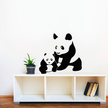 Panda Mon And Baby Silhouette Wall Stickers Animal Home Decor Vinyl Adhesive Removable Wall Decals Art Murals Kids Room(China (Mainland))