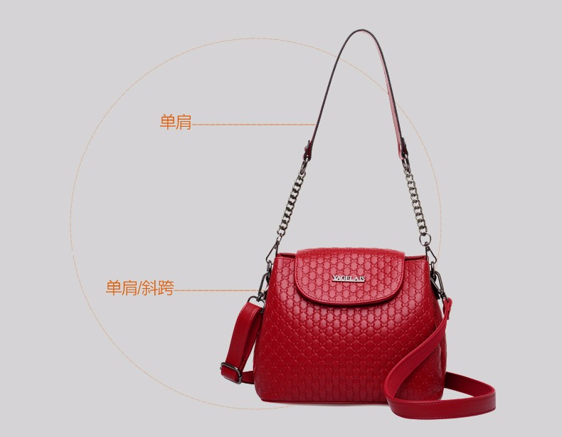 Classic Trendy Bucket Bag Embossed Leather Women Plaid Shoulder Bag All-match Elegant Ladies Chain Shoulder/Crossbody Bag