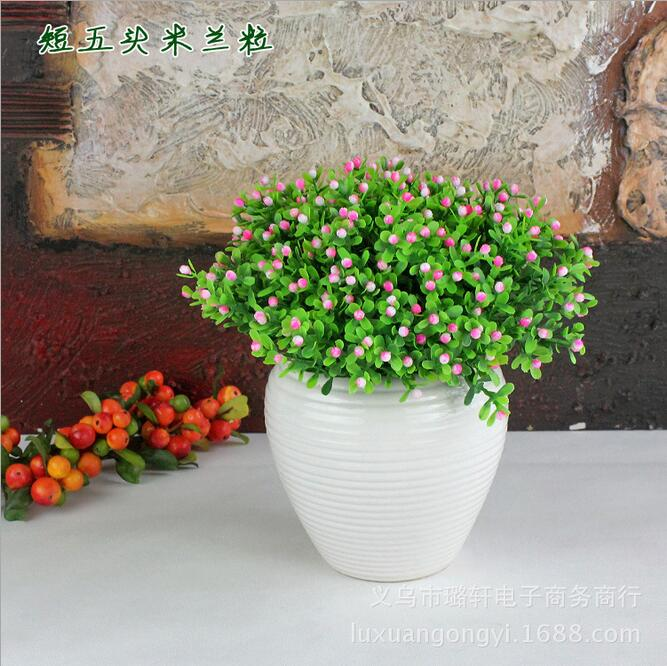 Short five grain Milan Milan 6 color options Yiwu simulation flowers and plastic flowers grass green artificial flowers white(China (Mainland))