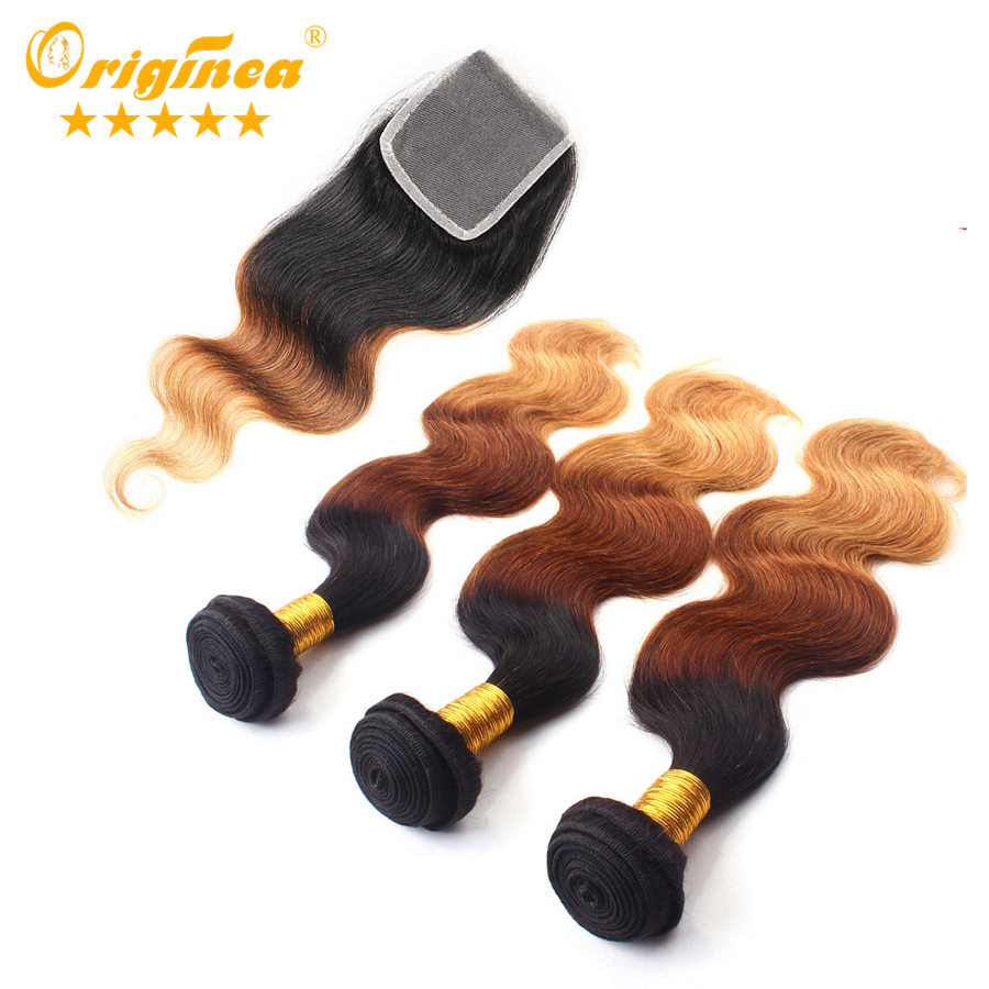 Originea TM 3pcs/lot Ombre Peruvian Hair With Closure Three Tone 1B/4/27 Body Wave Ombre Hair Rosa Sunny Queen Hair Products<br><br>Aliexpress