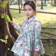 Sweet princess style kids girls trench flower printing of girl coat tulle bowknot girl jacket free shipping GC0026