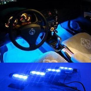 4 in1 LED Car Atmosphere Lights Blue Interior Decorative Lamp Auto Decoration For Toyota Focus Car Charger Adapter Car Styling(China (Mainland))