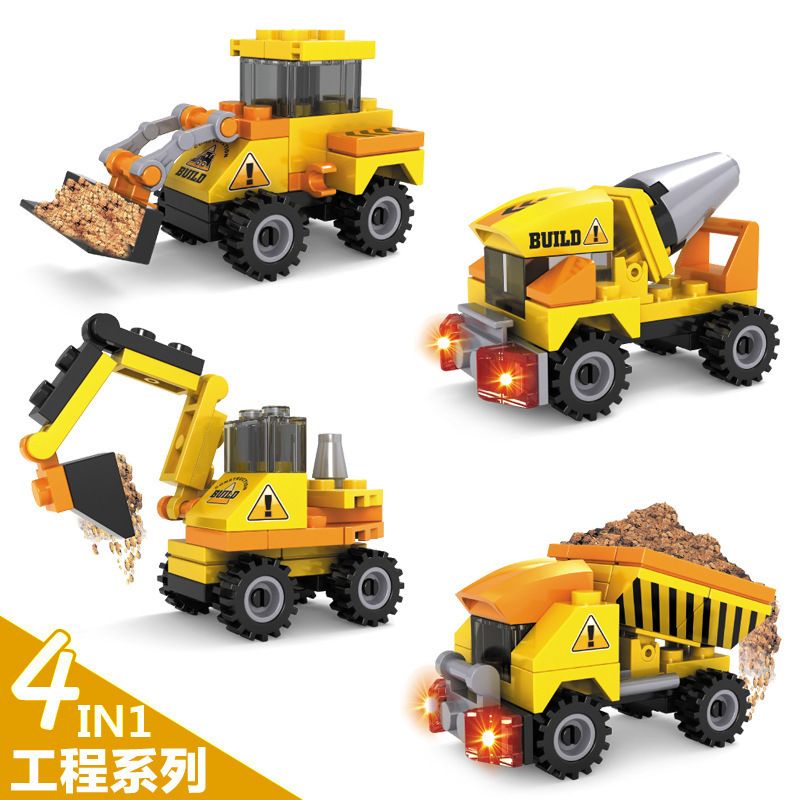 4pcs lot yellow cars toy truck models mini toys construction trucks for kids children play gift. Black Bedroom Furniture Sets. Home Design Ideas