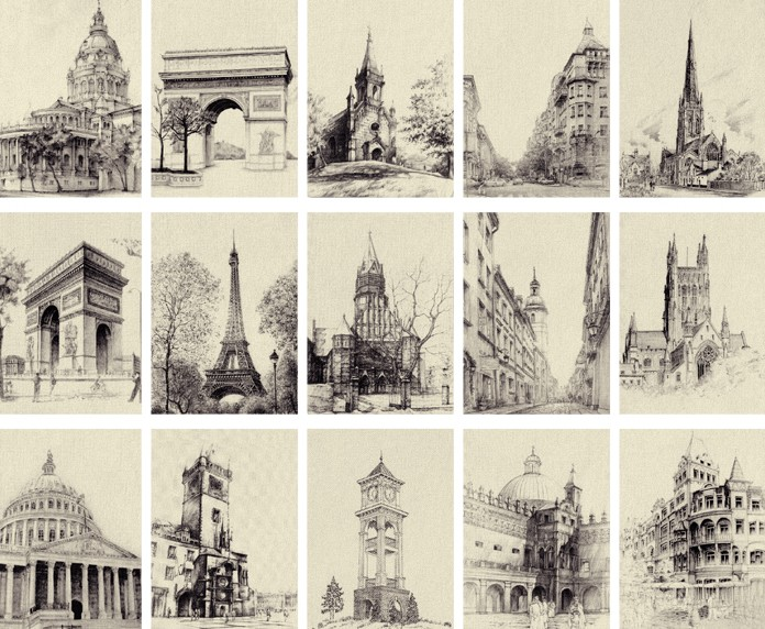"2016 Rushed Sale Postcards Illustration ""go Traveling - Europe Black And White Sketch Architecture"" Kraft Postcards28card Boxed(China (Mainland))"