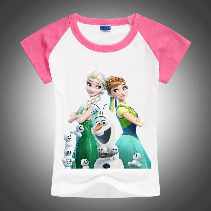 2016 new design 100% cotton baby girl boy elsa sister t-shirt kids brand cartoon t shirt princess clothes free shipping(China (Mainland))