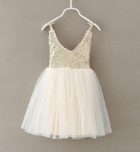 New Hot Children Baby Dress Gold Sequined Lace Sling White Tutu Dresses For Party Wedding Clothing Size 2-6Y vestido infantil(China (Mainland))