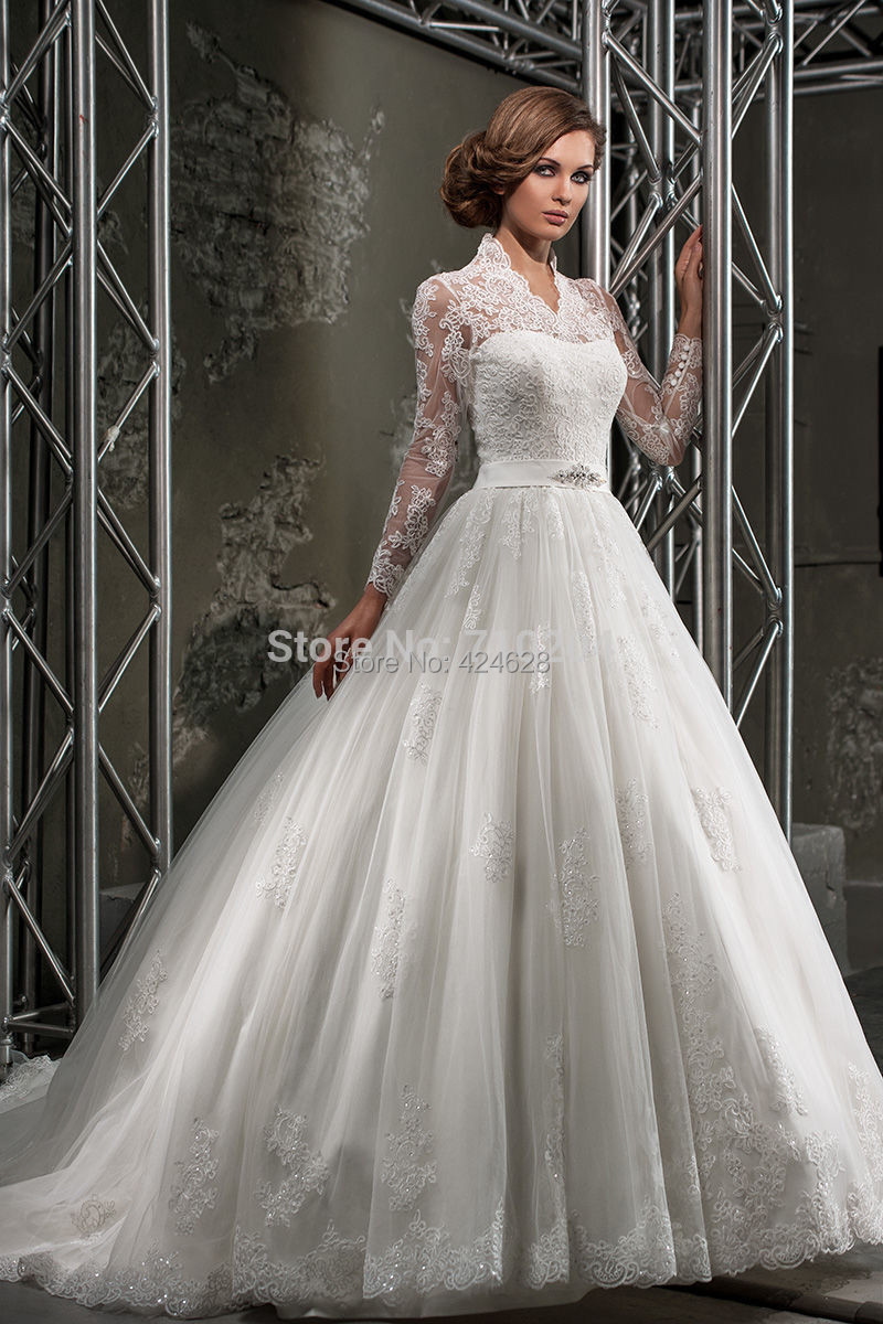 Mansa 2015 designer high neck wedding gowns vestido de for Elegant wedding dresses with long sleeves