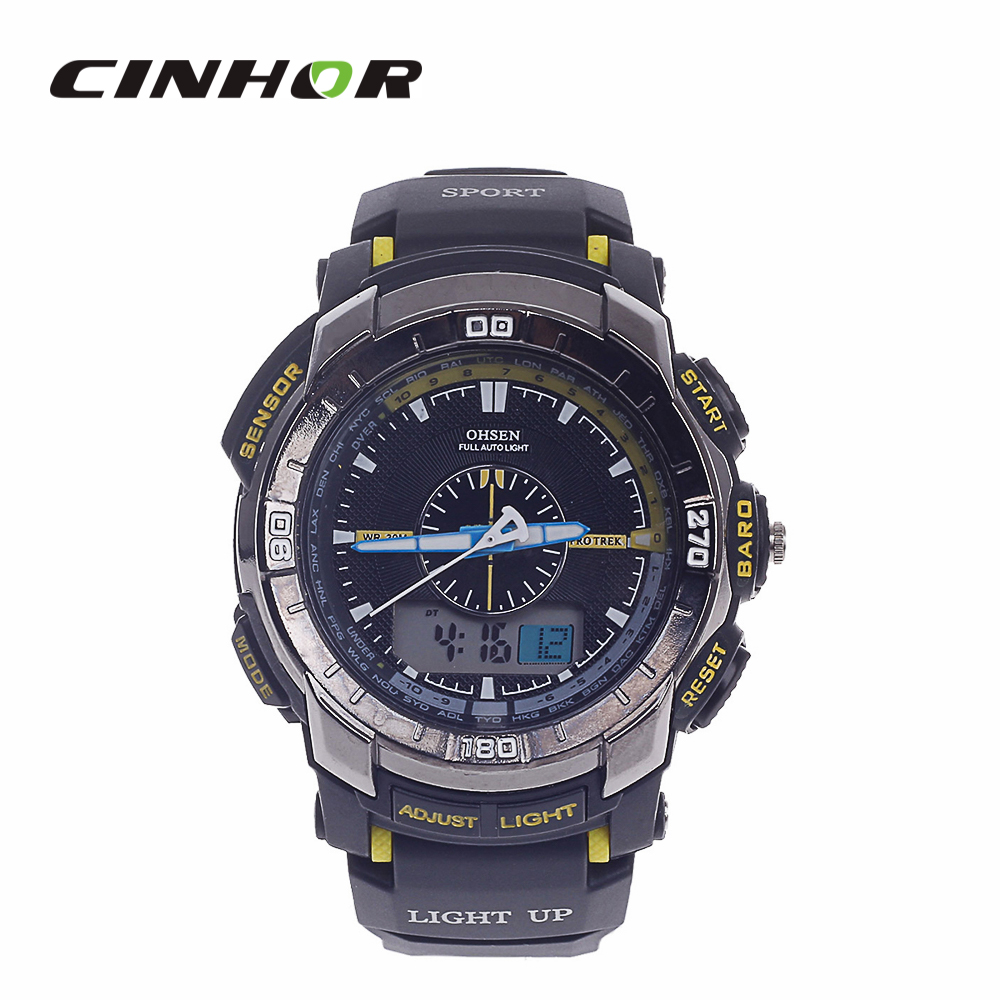 OHSEN AD1308 Men s Sport Analog Digital Quartz Wrist Watch Black Yellow 1 x CR 2025