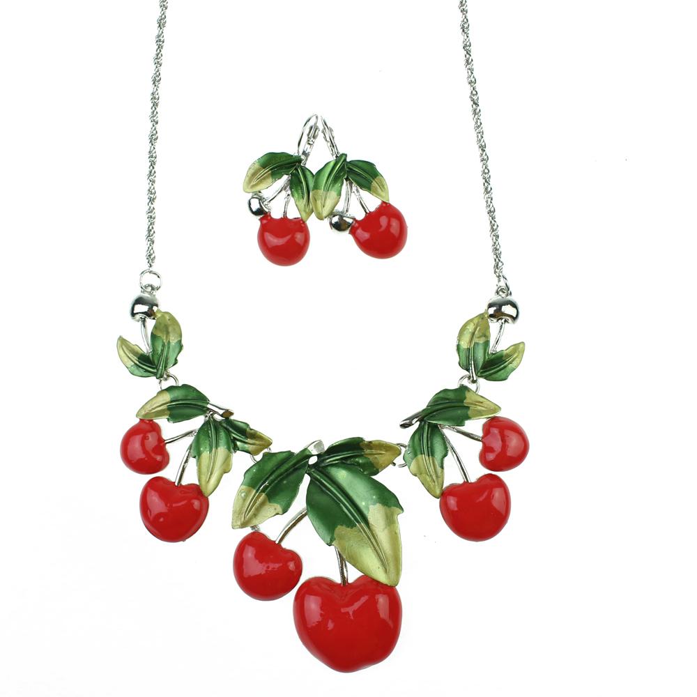 Women Fashion Strawberry Bridal Jewelry Sets Necklace Earrings Apple Pendant