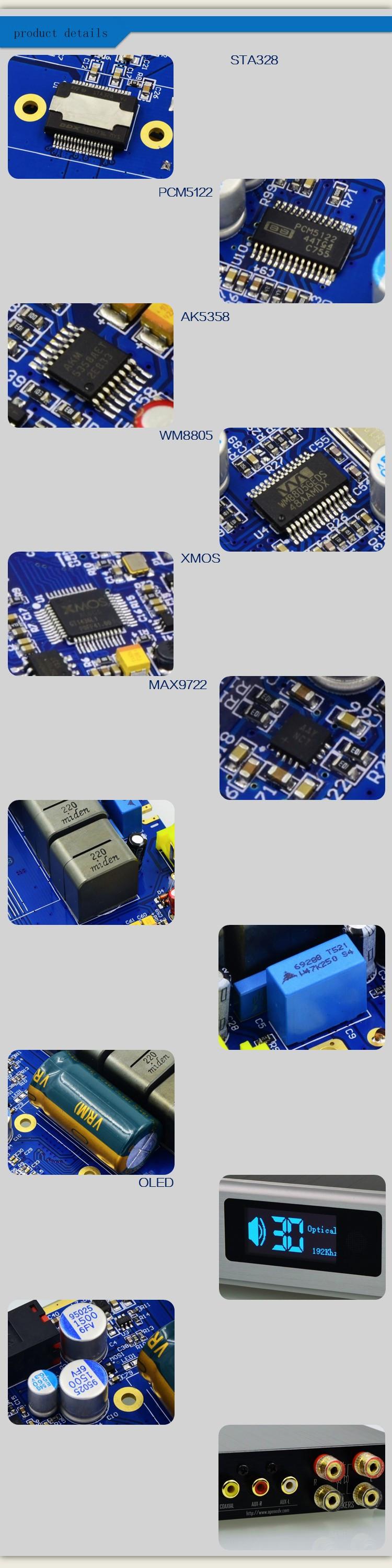 ถูก Alientek D8เต็มบริสุทธิ์ดิจิตอลเสียงเครื่องขยายเสียงหูฟังอินพุตUSB/XMOS/C Oaxial/เลนส์/AUX 80วัตต์* 2 24Bit/192กิโลเฮิร์ตซ์DC28V/4.3A OLED