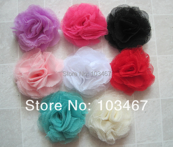 New arrive 30pcs/lot 5.5cm mesh flowers Hair flowers Chiffon Shabby Flowers Silk Lace  free shipping