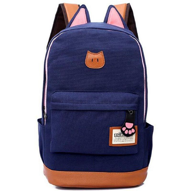 2016 new Cute Cat Ear Cartoon Women Canvas Backpack Brand School Bags Teenagers Girls Backpacks Children backpacks - Enjoy your life international trade co., LTD store