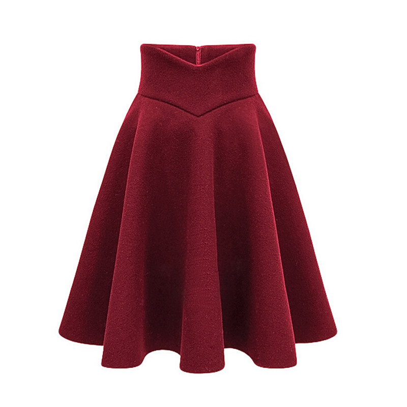 s xxxl high quality wool skirt high waist zip up