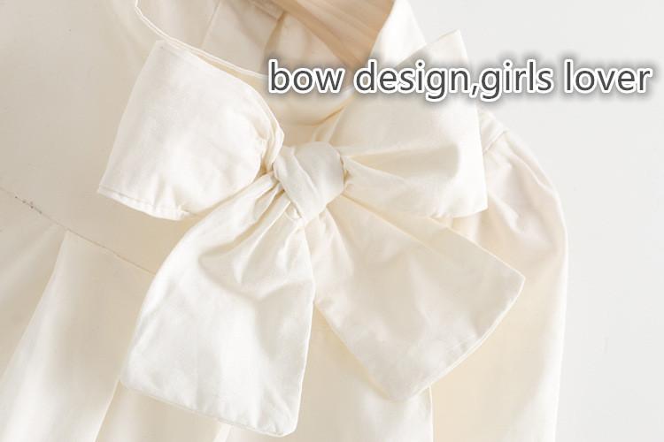 Moon Morning Girls White Shirts Hawaiian Bow Abbigliamento Blouse Long Sleeve Spring Veste 2T~8T Meisjes Cute 7 Child Clothing